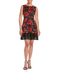 Anna Sui - Floral And Lace Fit-and-flare Dress - Lyst
