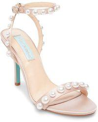 Betsey Johnson - Sydne Embellished Satin Sandals - Lyst