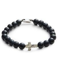 John Zack - Cross And Onyx Beaded Bracelet - Lyst