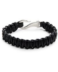 John Zack - Woven Leather Bracelet - Lyst