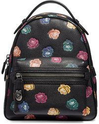 COACH - Pebble Leather Floral-print Backpack - Lyst