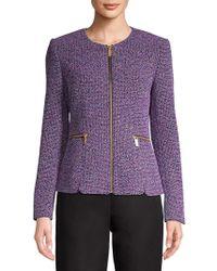 Donna Karan - Textured Full-zip Jacket - Lyst