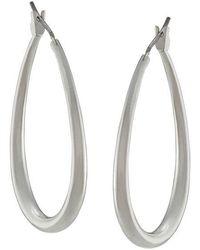 Lauren by Ralph Lauren - Silvertone Small Oval Hoop Earrings - Lyst