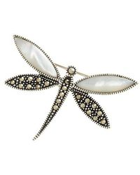 Lord & Taylor - Sterling Silver And Marcasite Dragonfly Pin - Lyst