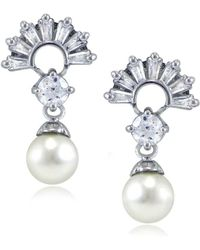 Lord & Taylor - Faux Pearl, Cubic Zirconia And Sterling Silver Fan Drop Earrings - Lyst