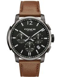 COACH - Bleecker Chrono Grey Ionized-plated Leather-strap Watch - Lyst