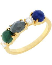 Botkier - Cubic Zirconia, Lapis Lazuli And 12k Gold-plated Band Ring - Lyst