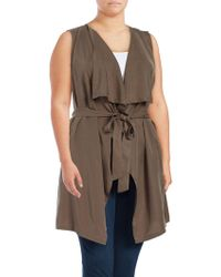 B Collection By Bobeau - Plus Solid Drapey Self Tie Vest - Lyst
