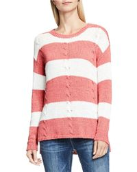Two By Vince Camuto - Cable Knit Striped Pullover - Lyst