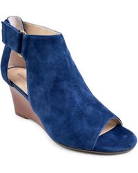 Adrienne Vittadini - Riva Open-toe Suede Wedge Booties - Lyst