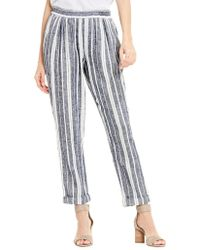 Two By Vince Camuto - Linen Striped Ankle Trousers - Lyst