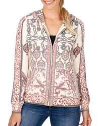 Lucky Brand - Printed Cotton Zip Front Hoodie - Lyst