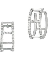 Morris & David - Diamonds And 14k White Gold Hoop Earrings - Lyst