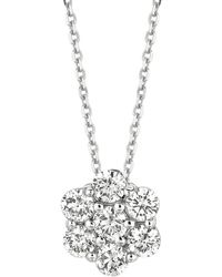 Morris & David - Diamonds And 14k White Gold Pendant Necklace - Lyst