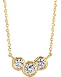 Morris & David - Diamond And 14k Yellow Gold Pendant Necklace - Lyst
