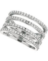 Morris & David - Diamond And 14k White Gold Four-row Split Band Ring - Lyst