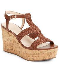 Kate Spade - Tianna Woven Leather Cork Platform Wedge Sandals - Lyst