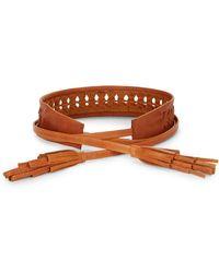 Ada - Leather Woven Tassel Belt - Lyst
