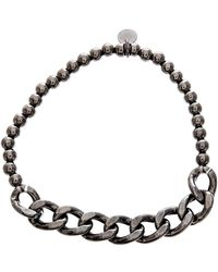 Lord & Taylor - Black Sterling Silver Beaded Curbed Chain Stretchy Bracelet - Lyst