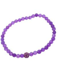 Lord & Taylor - Purple Bead And Amethyst Stone Stretch Bracelet - Lyst