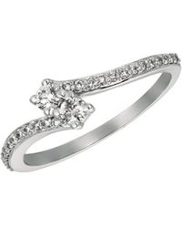 Morris & David - Diamond Cluster And 14k White Gold Ring, 0.25 Tcw - Lyst