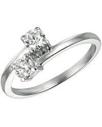 Morris & David - Double Diamond And 14k White Gold Ring, 0.5 Tcw - Lyst