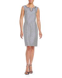 Ellen Tracy - Embellished Striped Sheath Dress - Lyst