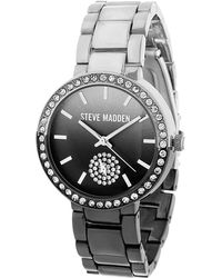 Steve Madden - Gradient Dial And Stone Chainlink Watch - Lyst