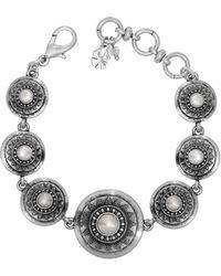 Lucky Brand - 10 Mm Freshwater Pearl Silvertone Link Bracelet - Lyst
