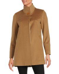 Fleurette - Wool Mock-collar Coat - Lyst