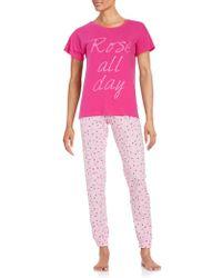 Sleeptease   Patterned Tee And Pants Pajama Set   Lyst