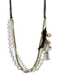 R.j. Graziano - Faux Pearl-accented Tiered Chain Necklace - Lyst