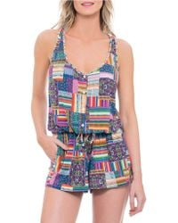 Blush By Profile - Candy Apple Mixed Print Short Jumpsuit - Lyst