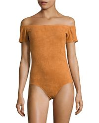 Lord & Taylor - Faux Suede Off-the-shoulder Body Suit - Lyst