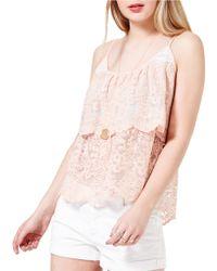 Miss Selfridge - Layered Lace Camisole - Lyst