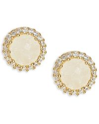 Tai - Cubic Zirconia Bezel Stud Earrings - Lyst