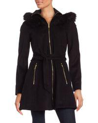 Laundry by Shelli Segal - Faux Fur Trimmed Wool-blend Zip Coat - Lyst