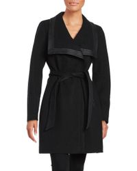 Jessica Simpson - Faux Leather-trimmed Belted Coat - Lyst