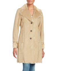 Belle By Badgley Mischka - Long Sleeve Faux Fur Coat - Lyst