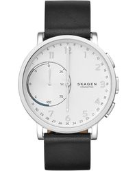 Skagen - Hagen Connected Stainless Steel Leather Strap Hybrid Smartwatch - Lyst