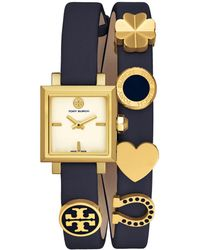 Tory Burch - Women's Swiss Saucy Navy Leather Double Wrap Strap Watch 25mm Tb5350 - Lyst