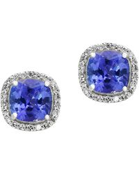 Effy - Diamond, Tanzanite And 14k White Gold Earrings- 0.17 Tcw - Lyst