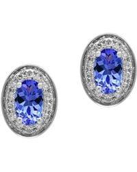 Effy - Tanzanite, 0.11 Tcw Diamonds And 14k White Goldplated Stud Earrings - Lyst