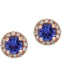 Effy - Tanzanite, 0.07 Tcw Diamonds And 14k Rose Goldplated Stud Earrings - Lyst