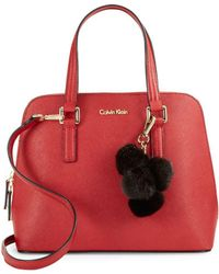 Calvin Klein - Leather Satchel And Faux Fur Purse Charm Set - Lyst
