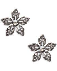 Gerard Yosca - Crystal Pave Gunmetal Flower Stud Earrings - Lyst