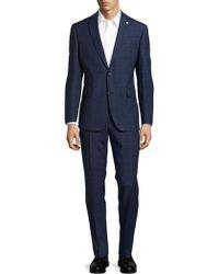 Ted Baker - Wool Windowpane Trousers Suit - Lyst