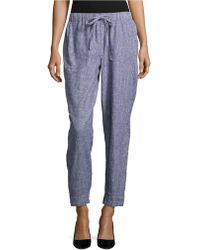 Two By Vince Camuto - Striped Linen Ankle Trousers - Lyst