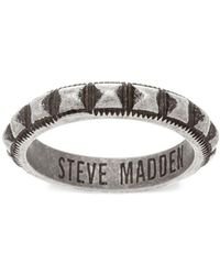 Steve Madden - Stainless Steel Studded Textured Band Ring - Lyst
