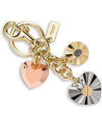 COACH - Daisy Rivet Heart Locket Bag Charm - Lyst